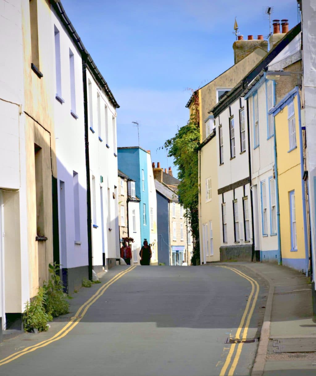 Coombe Street, Lyme Regis showing Lavender Cottage and Teal House