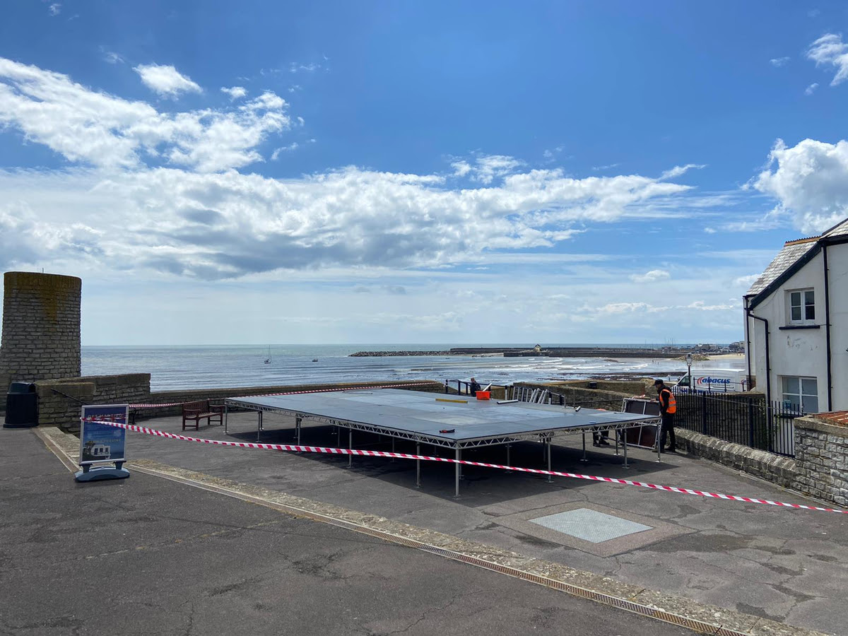 New stage at Marine Theatre in Lyme Regis for the Jazz Jurassica Festival event 27-31 May 2021